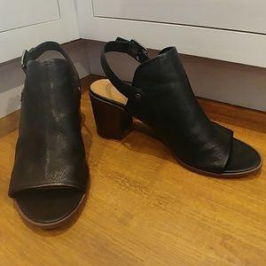 FRANCO SARTO Black Leather Walter Sandals 8.5